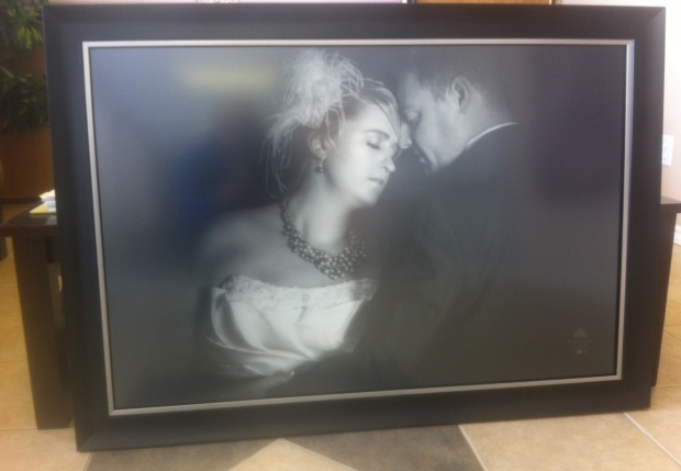 A recent print just before it was shipped out to our client in Toronto. House of Frames chose black with a silver lining to complement the B&W Portrait
